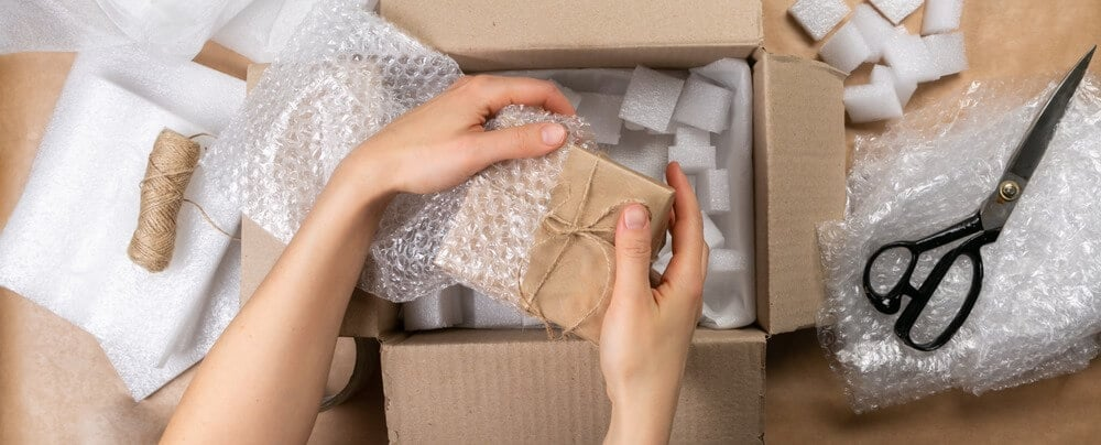 Explaining how to recycle bubble wrap